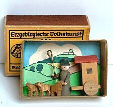 Vintage Original Erzgebirge Miniature In Matchbox Wooden Handcrafted Made In Gdr
