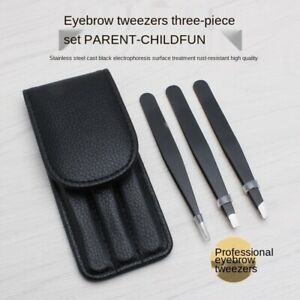 Tweezers Set 3 Piece Professional Stainless Steel Eyebrow Hair Pluckers + Case