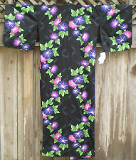 NWT JAPANESE Cotton Yukata Long KIMONO ROBE Black w Big Purple & Pink Flowers