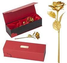 Goldene echte Gold Vergoldete Rose LUXUS + WUNSCH GRAVUR Geburtstag Valentinstag