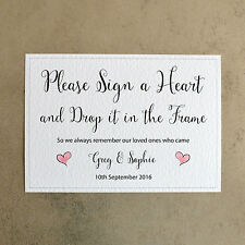 Personalised Wedding Sign - Please Sign a Heart - 260gsm White Hammer Card