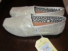 Toms Womens Classic Silver Glitter Slip On Casual Shoes 5