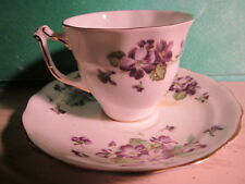 Vtg Tea Cup and Saucer Old Royal Bone China Made in England Gold Rim & Violets