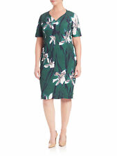 MARINA RINALDI Women's Green Destino Floral Printed Dress $485 NWT