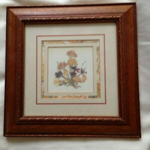 Lovely Vintage Wooden Picture Frame with Floral Print