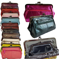 Ladies Women Luxury Soft Real Leather Clip TOP Coin Purse In Purse Double Pocket