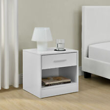 Nachttisch mit Schublade Weiß Nachtkommode Beistelltisch Ablage