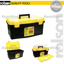 Rolson Portable 480mm Black/Yellow Plastic Tool Box/Storage compartments tote