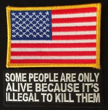 AMERICAN FLAG EMBROIDERED PATCH iron-on YELLOW BORDER & TAB PATCH QUALITY!!