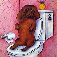 Dachshund BATHROOM ANIMAL ceramic dog art tile pet gift