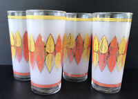 Vintage Libbey Glass Tumblers (4) MCM Orange Yellow Leaves Frosted Mid Century