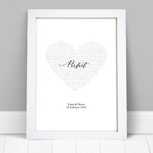Personalised Song Lyric Print Wedding Gifts  Anniversary Gift First Dance Lyrics
