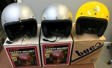 (3) Vintage ALL SPORT BUCO Motorcycle Helmets Silver Yellow Genuine Made In USA