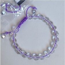 Wholesale Lot 12 Adjustable Faceted Clear Resin Bead Lavender Shamballa Bracelet