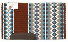"Western Wool Show Saddle Blanket - Custom - 34""x40"" - Rust-Cream-Caramel-Turq"