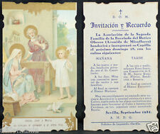 OLD BLESSED SACRED FAMILY HOLY CARD YEAR 1932 ANDACHTSBILD SANTINI  MY SHOP C972