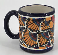 Mexico Talavera Pottery Cobalt Blue Hand Painted Coffee Mug Cup  K Lead Free