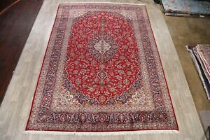 Vintage Traditional Hand-Knotted RED/NAVY Floral Area Rug Oriental Carpet 10x14