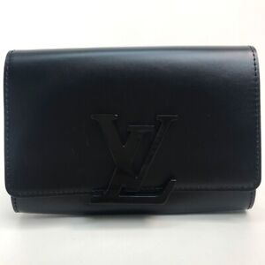 LOUIS VUITTON LV logo Pochette LouiseEW Clutch bag Hand bag Leather Black