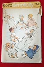 Simplicity NB baby pattern 6072 vtg  dress Christening petticoat romper Uncut