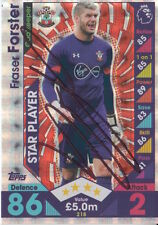 FRASER FORSTER HAND SIGNED SOUTHAMPTON MATCH ATTAX CARD 16/17.