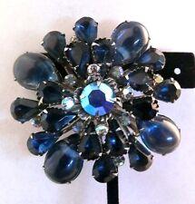 Vintage 1950's glass AB Starburst Navy Sapphire Blue AB Brooch Pin Jewelry Lot f