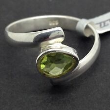 Peridot Gemstone Pear solid Sterling Silver, uk size O, new. UK Seller.
