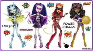 Monster High POWER GHOULS SUPER HEROS Set Toralei Spectra Clawdeen & Frankie NEW