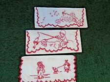 3 Vint Red Embroidered On White Serviette/Napkin Purses/Pockets
