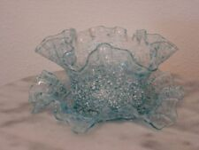 Victorian Antique Blue White Frit Art Glass Ruffled Finger Bowl and Underliner