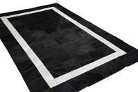 New Large Cowhide Rug Patchwork Cowskin Cow Hide Leather Carpet White Black.