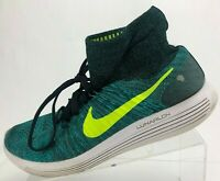 Nike LunarEpic Flyknit Running Shoes Green Training Athletic Sneakers Mens 11.5