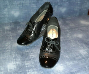 Anne Klein womens 8 1/2m black leather Oxford 3 1/2 lace up high heels.