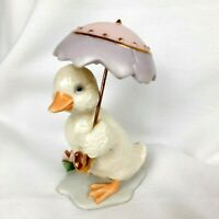 Lenox 2003 Duck with Umbrella White, Purple & Pink Duckie Gold Trim Hand Crafted