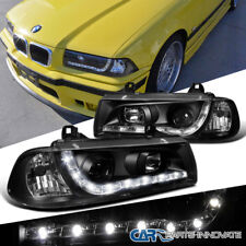 BMW 1992-1998 E36 328i 325i 2Dr R8 LED DRL Projector Headlights Lamps Black Pair