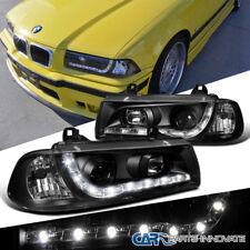BMW 1992-1998 E36 328i 325i 2Dr R8 LED DRL Projector Headlights Lamps Black Pair