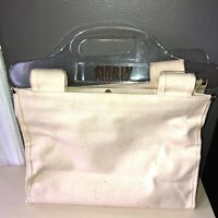 """VTG 70'S """"SHERRY"""" GOLD PERSONALIZED LUCITE HANDLE COTTON CANVAS PURSE TOTE BAG"""