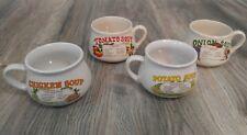 Set of 4 Vintage Soup Recipe Ceramic Mug Cup Bowl Tomato Onion Chicken Potato