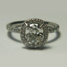14K White Gold Rings Size 7 8 1.20 Ct Cushion Solitaire Diamond Engagement Ring
