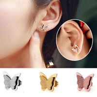 1 Pair Butterfly Design Woman Titanium Stainless Steel Ear Stud Earrings Jewelry