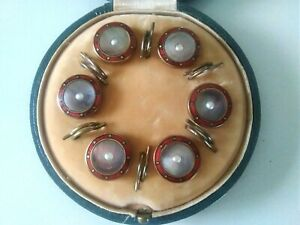 Art Deco Boxed Set of 6 Dress Shirt Studs Buttons Red Enamel Abalone & Pearl