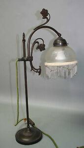 alte antike Lampe Jugendstil Tischlampe Bogen Tischleuchte Leuchte Fransen Glas