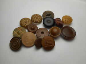 """Lot Vegetable Ivory 15 Carved Pierced Impressed Antique Buttons 5/8 to 1/2"""""""