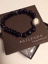 Silpada B3169 Blackboard Stretch Agate Hematite Howlite Sterling Silver Bracelet