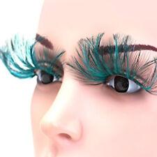 Women False Fake Eye Lashes Blackish Green Feather Party Halloween Costume