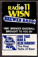 MILWAUKEE BREWERS 1981 RADIO 11 WISN PBR POCKET SCHEDULE - NRMT - FREE SHIPPING