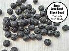 "15"" Strand x 8mm Round Natural Lava Rock Black Beads Gemstone Stone Bead"