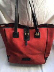 DOONEY & BOURKE Red Suede & Brown Leather Large Tote