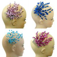 Pink Blue Aqua Headpiece Hair Comb, Dance Tiara, Jewel Crystal Bridal Hair #B