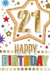 Happy 21st Birthday. Fun Star Design Card For Age 21 Male